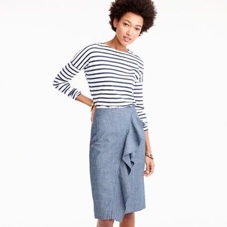 Ruffle skirt in chambray $98 thestylecure.com