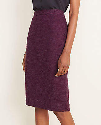 Ann Taylor Textured Button Pencil Skirt in Curvy Fit