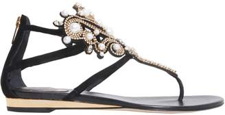 Rene Caovilla Suede Sandals With Crystals