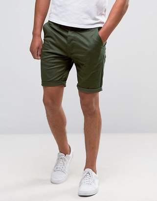 Asos DESIGN skinny chino shorts in dark khaki