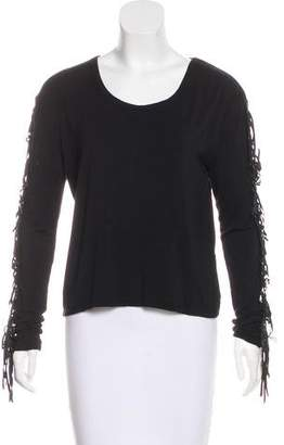 Torn By Ronny Kobo Leather-Accented Long Sleeve Top
