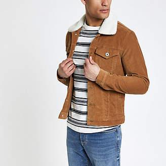 River Island Tan fleece collar cord jacket