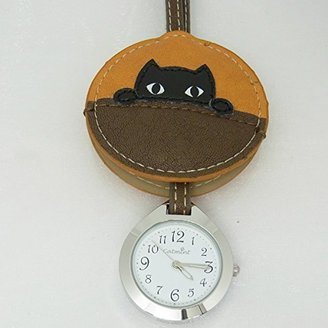 バックに付けるアクセサリー時計 ハングウォッチ かくれんぼネコ/ブラウン