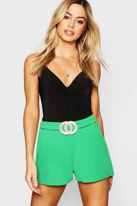boohoo Petite Crepe Belted Shorts