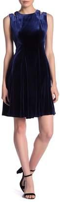 Gabby Skye Sleeveless Shoulder Cutout Velvet Dress