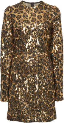 Dolce & Gabbana Leopard Print Sequin Mini Dress
