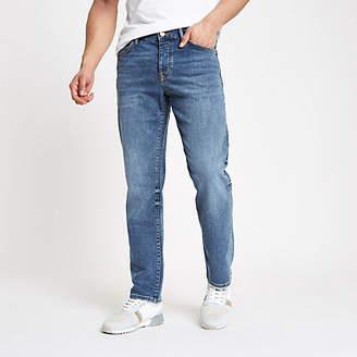 River Island Mid blue Dean straight leg jeans