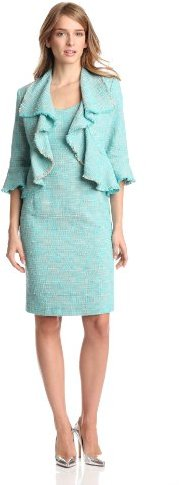 Jones New York Women's 2 Piece Boucle Open Jacket Dress