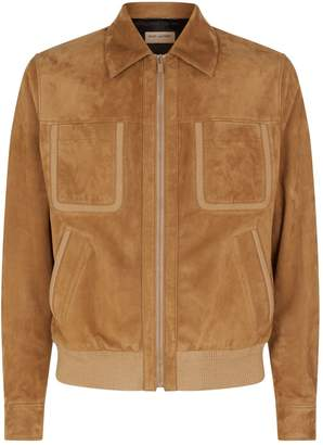 Saint Laurent Suede Collared Bomber Jacket