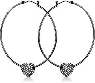GUESS Crystal Heart Hoop Earrings