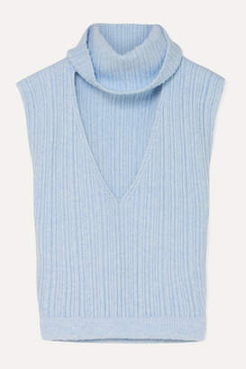 Jacquemus Cutout Ribbed Wool-blend Top - Sky blue