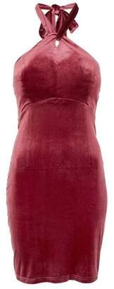 Womens **Isabelle Pink Velvet Mini Dress By Wyldr