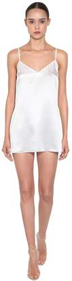 Silk Satin Slip Dress W/ Crystal Details