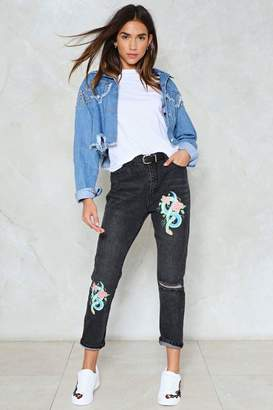 Nasty Gal Snake an Entrance Distressed Jeans