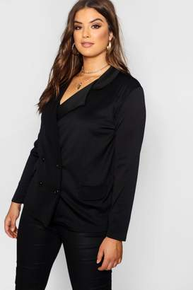 boohoo Plus Eve Double Breasted Contrast Button Blazer