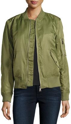 Raison D'etre Ribbed-Trim Flight Bomber Jacket, Olive $74 thestylecure.com