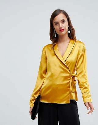Asos Design DESIGN satin wrap top with piping detail and long sleeves