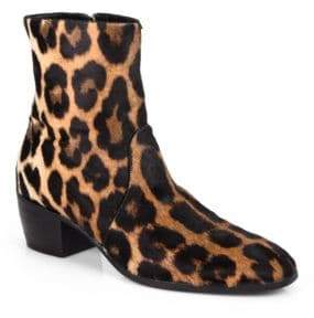 Giuseppe Zanotti Leather Leopard Ankle Boots