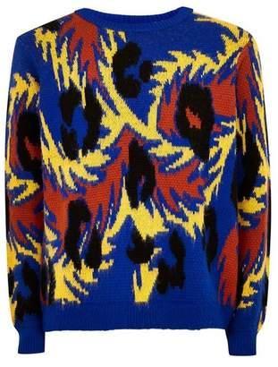 Topman Mens Multi Brushed Animal Print Sweater