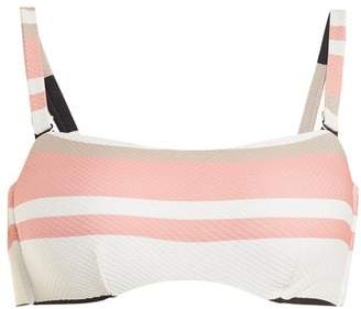 Asceno - Bandeau Striped Bikini Top - Womens - Cream Stripe