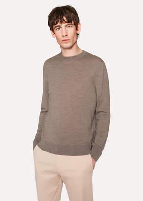 Paul Smith Men's Taupe Crew-Neck Merino Wool Sweater