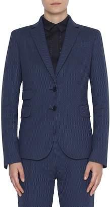 Akris Punto Dot-Jacquard Stretch Cotton Blazer