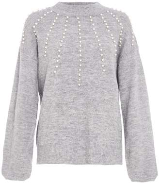 Quiz Grey Knit Turtle Neck Pearl Detail Jumper