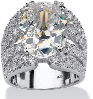 FINE JEWELRY Diamonart Womens White Cubic Zirconia Sterling Silver Oval Engagement Ring