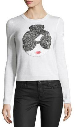 Alice + Olivia Stace Face Peekaboo Sequined Sweater $330 thestylecure.com