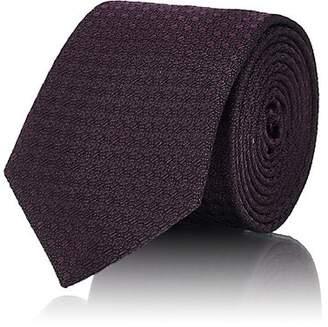 Barneys New York Men's Oval-Pattern Silk-Cotton Necktie - Purple