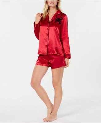 Thalia Sodi Embroidery-Trimmed Pajama Shorts Set