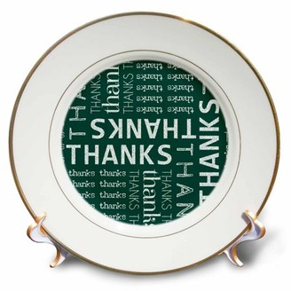 3dRose Thank You Green Chalkboard Word Cloud with White Chalk - Porcelain Plate, 8-inch