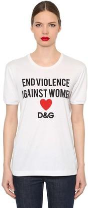 Dolce & Gabbana End Violence Printed Jersey T-Shirt