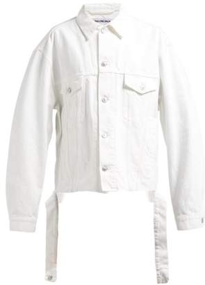 Balenciaga Distressed Logo Embroidered Denim Jacket - Womens - White