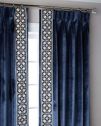 "Thomas Laboratories Misti Modern Luxuries Navy Structure 3-Fold Pinch Pleat Blackout Curtain Panel, 108"""