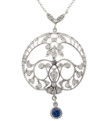 Vintage Platinum Filigree 0.25ct Sapphire Diamond Pendant Necklace