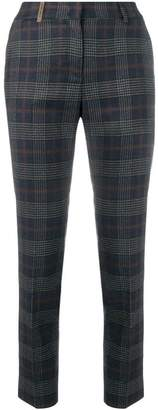 Peserico check slim fit trousers