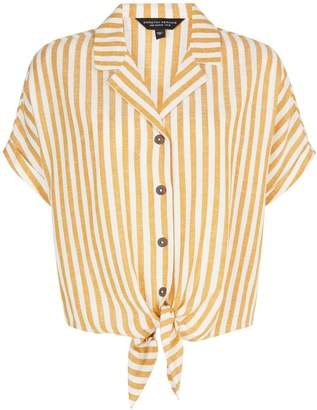 Dorothy Perkins Womens Yellow Striped Shirt With Linen