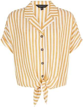 Dorothy Perkins Womens Yellow Striped Linen Blend Shirt