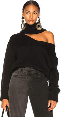Monse Drop Shoulder V Neck Turtleneck Sweater