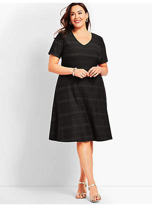 Talbots Womans Exclusive Embroidered Stripe Fit-And-Flare Dress