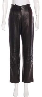 Loro Piana Leather Straight-Leg Pants