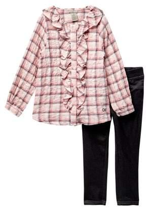Calvin Klein Plaid Ruffle Front Top & Jeggings Set (Toddler Girls)
