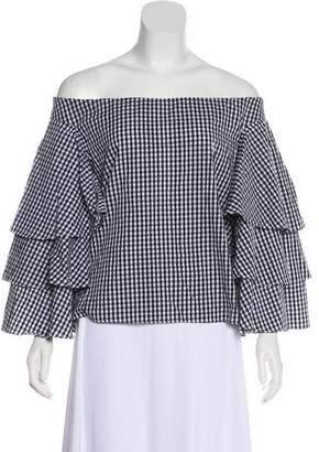Endless Rose Off-The-Shoulder Gingham Top w/ Tags