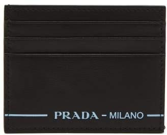 Prada Logo Leather Cardholder - Mens - Black