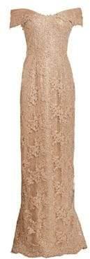 Off-The-Shoulder Lace & Sequin Dress