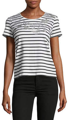 Karen Scott Petite Stripe Short-Sleeve Tee