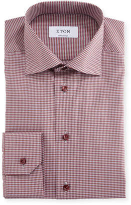 Eton Contemporary-Fit Check Dress Shirt, Red