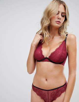 Wolfwhistle Wolf & Whistle high apex exposed wire lace bra in burgundy