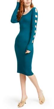 Almost Famous Crave Fame Juniors' Cut-Sleeve Bodycon Midi Dress